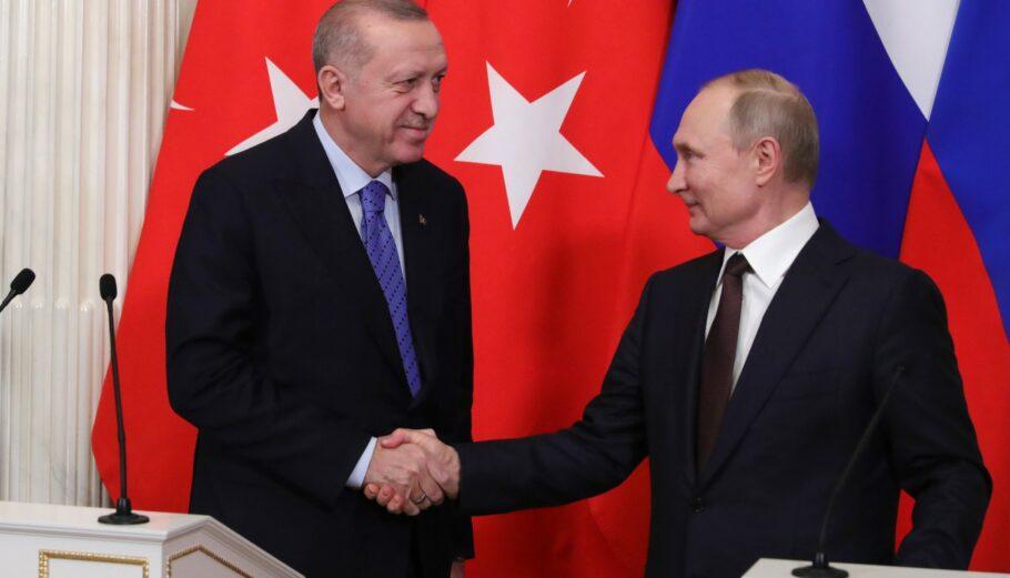 Ερντογάν - Πούτιν © EPA/MICHAEL KLIMENTYEV / SPUTNIK / KREMLIN POOL MANDATORY CREDIT