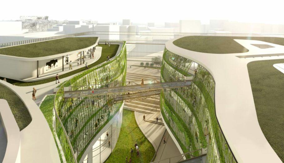 Μακέτα από το νέο βιοκλιματικό κτίριο που θα φιλοξενήσει τη ΓΓ Υποδομών στον Ταύρο των αρχιτεκτονων Μωραΐτη - Κιτσούλη, που κέριδαν την πρώτη φάση του Διαγωνισμού